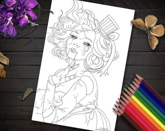 Broken Doll Coloring Page Carnival Doll Printable Coloring Page Download Coloring Page JPG Adult Coloring Page Marionette