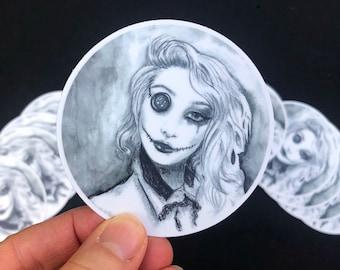 Broken Doll Sticker / Creepy Coraline / Button Eye Voodoo /  Decal / Vinyl Die Cut Sticker / Witchy Stickers for Hydroflask Laptop Car
