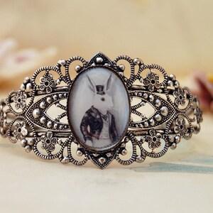March Hare Adjustable Bracelet March Hare Bracelet Rabbit Bracelet Silver Cuff Bracelet Gothic Bracelet Alice in Wonderland Bracelet