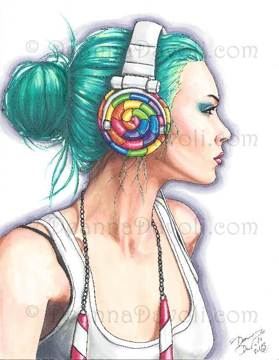 6b70ae2ef Candy Art Print Fantasy Art Headphone Girl Candy Girl Urban | Etsy