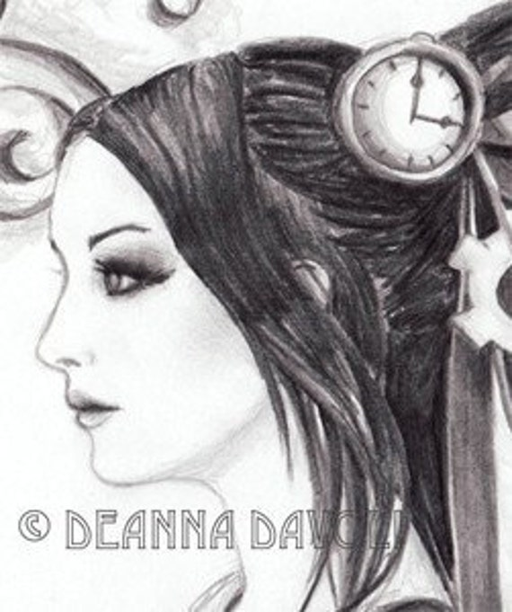 Victorian Steampunk Clock Drawing