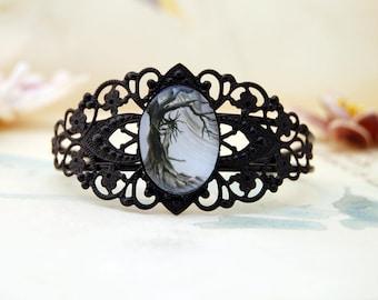 Tree Adjustable Bracelet Tree Bracelet Rabbit Bracelet Silver Cuff Bracelet Gothic Bracelet Black Cuff Bracelet Tree Spirit