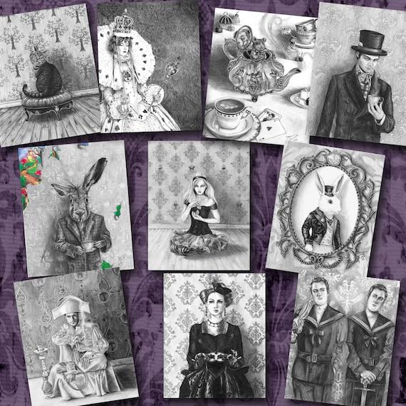 Alice In Wonderland Art Print Set 5x7 Mad Hatter White Rabbit Etsy