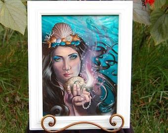 Ace of Cups ORIGINAL Art Original Painting Oil Painting Mermaid Painting Nautical Painting 78 Tarot Art