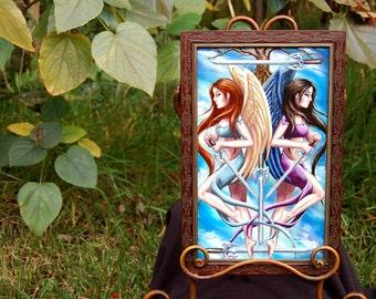 5 of Swords ORIGINAL Art Original Painting Oil Painting Angel Painting Warrior Angels Viking Angels 78 Tarot Art