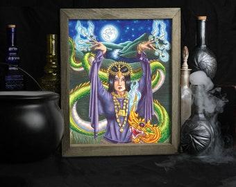 9 of Wands / Tarot Art Print / 78 Tarot Carnival / Wall Art / Thai Green Dragon / Asian Warrior / Gothic Decor / Home Accessories