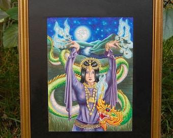 9 0f Wands ORIGINAL Art Original Copic Marker Drawing Female Warrior Thai Dragon Carnival Art 78 Tarot Carnival