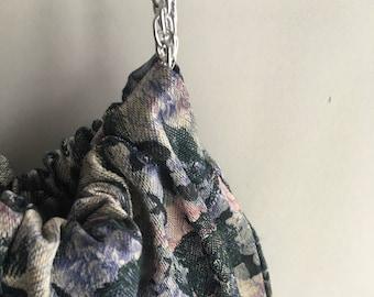 Black Floral Evening Handbag with Silver Chain Handles - Handmade Hobo Purse - Ready to Ship
