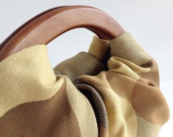 Gold Diamond Hobo Handbag with Wood Handles - Cream Handmade Retro Purse - Ready to Ship