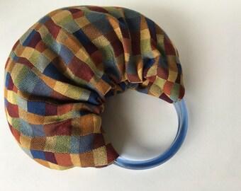 Small Geometric Hobo Purse - Handmade Handbag Made from Upholstery with Blue Translucent Handles
