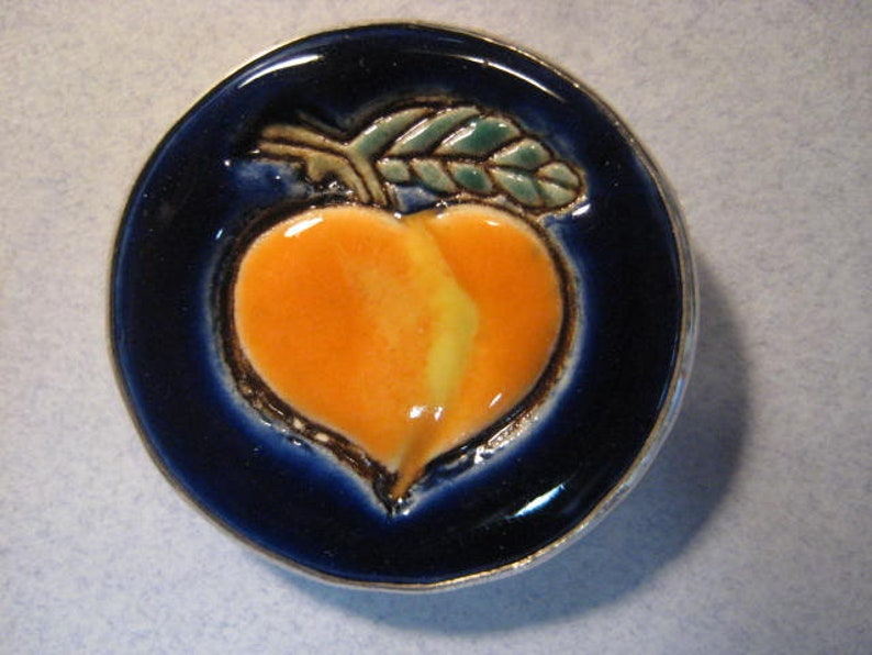 Porcelain and Sterling Silver Peach  Pin B1