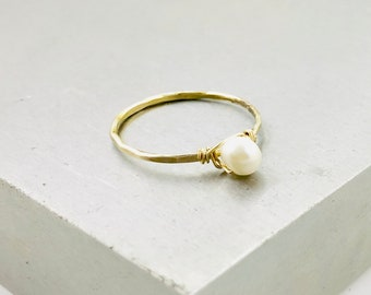 Pearl Stacking Ring - Silver, Gold, Rose Gold - Freshwater Pearl - Hammered Band, Wire Wrapped Gemstone - Sterling Silver, 14K Gold Fill