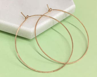 Medium Round Hammered Hoop Earrings - Sterling Silver, Gold, Rose Gold - Light and Delicate - 1.5 Inches - Gift For Her - Gift For Mom