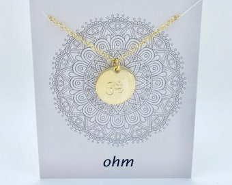 Ohm Necklace - Silver, Gold, Rose Gold - Hand Stamped - Sterling Silver, Gold Fill - Yoga Jewelry, Meditation Necklace - Gift for Her