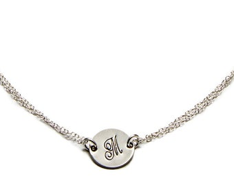 Silver Initial Bracelet, Choose Your Letter - Sterling Silver - Personalized Monogram, Gift For Her, Birthday Present, Bridesmaids Gifts