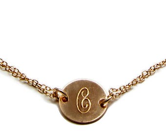 Gold Initial Bracelet, Choose Your Monogram - Personalized Jewelry - Yellow Gold - Gift For Her - Birthday Gift For Her - Mother's Day Gift