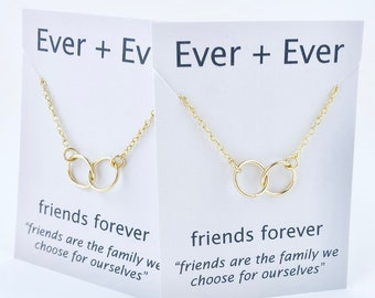Friendship Necklaces - Set of Two - Sterling Silver, Gold, Rose Gold, Mixed - Friends Forever, Friendship Jewelry, Gift for Friends