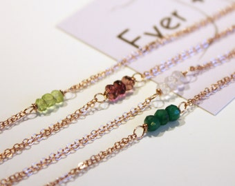 Rose Gold Gemstone Bracelet, Choose Your Gemstone || Birthstone Jewelry, Birthday Gift, Gift for Her, Gift for Mom, Bridesmaid Gift