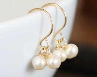Birthstone Earrings - Gold, Gemstone, Pearls || Birthday Gift, Gold Earrings, Gift for Her