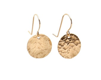 Circle Disc Earrings - Silver, Gold, Rose Gold - Small Earrings, Simple Jewelry - Hand-Hammered Earrings - Mixed Metal Modern Jewelry