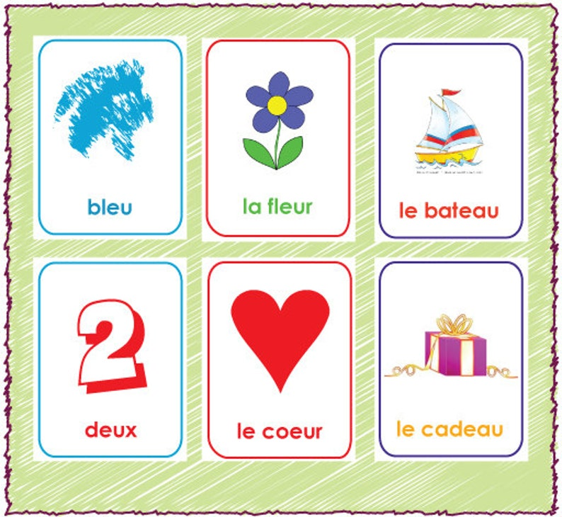 photograph about Rhyming Flash Cards Printable named Printable French Rhyming Flash Playing cards - Established of 48