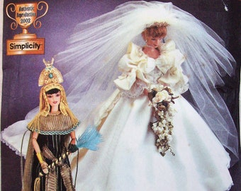 "Simplicity 7077 Diva Doll Collection I for 11 1/2"" Fashion Dolls Princess Diana Royal Wedding Cleopatra"