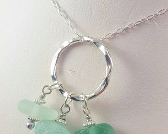 Sea Glass Necklace Aqua Sea Glass Necklace Sea Glass Jewelry Gift for Her  N-577 Mothers Day Gift