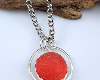 Sterling Silver Jewelry Statement Necklace Gift RED Sea Glass Jewelry RED Sea Glass Necklace OOAK Red Sea Glass - N-606 Mothers Day Gift