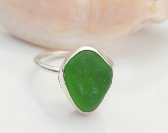 Sea Glass Ring Mini Ring Stacker Ring Stacking Ring Kelly Green Sea Glass Jewelry Kelly Green Beach Glass Size 6 - R-188 Mothers Day Sale