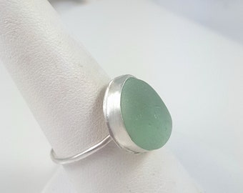 Sea Glass Ring Mini Ring Stacker Stacking Ring Sea Glass Jewelry Aqua Sea Glass Ring Aqua Beach Glass Size 8 - R-186 Mothers Day Sale