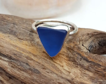 Cobalt Blue Sea Glass Ring Mini Ring Stacker Ring Stacking Ring Sea Glass Jewelry Cobalt Blue Beach Glass Size 7 - R-193