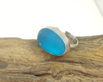 Sea Glass Jewelry Sea Glass Ring Electric Blue Sea Glass Ring Sea Glass Jewelry Size 8.5  - R-182 Mothers Day Sale