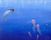 Narwhal and Jelly Fish Painting c