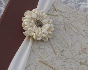 Wedding Photo Album, rustic Photo album,  8x10, 9x12, Photo album, Personalized, Hand-made, Natural album, Ivory & Brown, ribbon flower