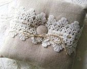 Rustic Wedding Ring Bearer Pillow  Natural Linen and Lace 7x7