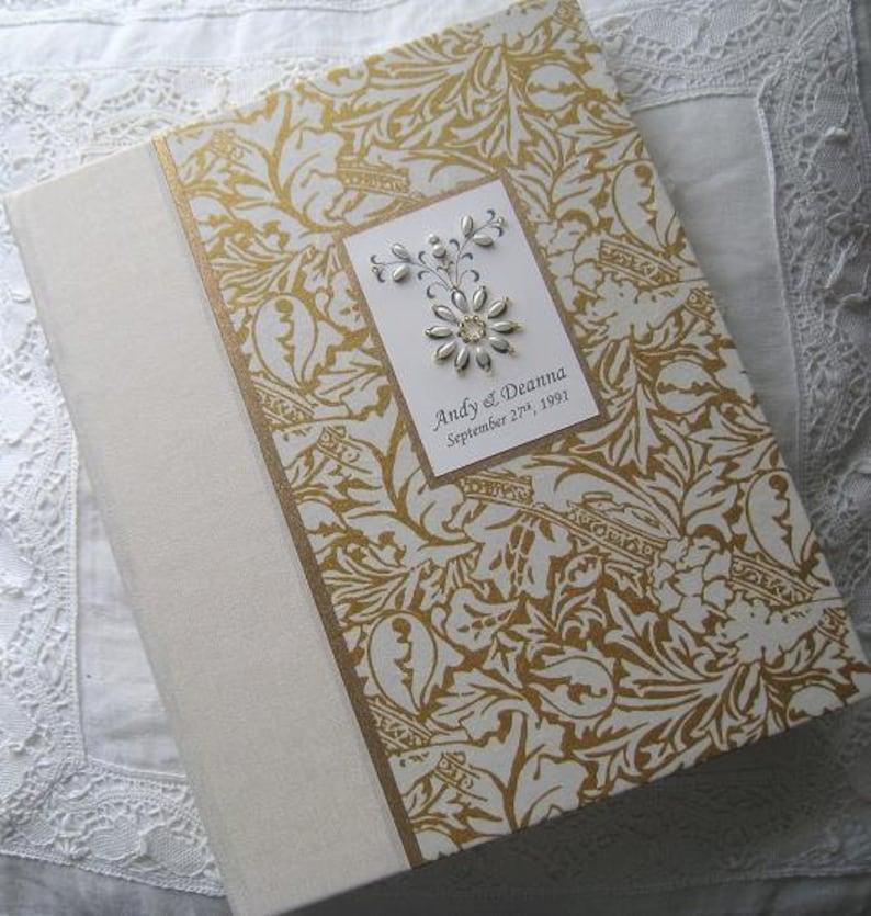 Personalized Wedding Photo Album Ivory and Gold Album image 0