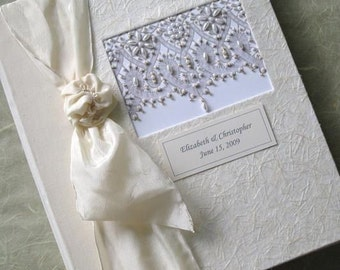 Personalized Ivory Beaded Wedding Photo Album - Hand stitched Battenberg Lace Design, 8x10