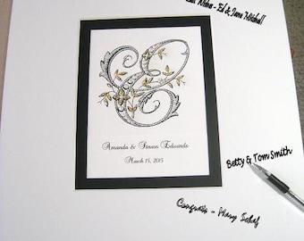 Monogram Guest book, Wedding Guest Book Alternative, Signature Matte, Monogram, Personalized Guestbook, Wedding Signatures, Autograph Mat
