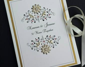 Personalized 5oth Wedding Anniversary Photo Album Gift  Beaded Vintage Design 5x7 or 6x7.5 Brag Book
