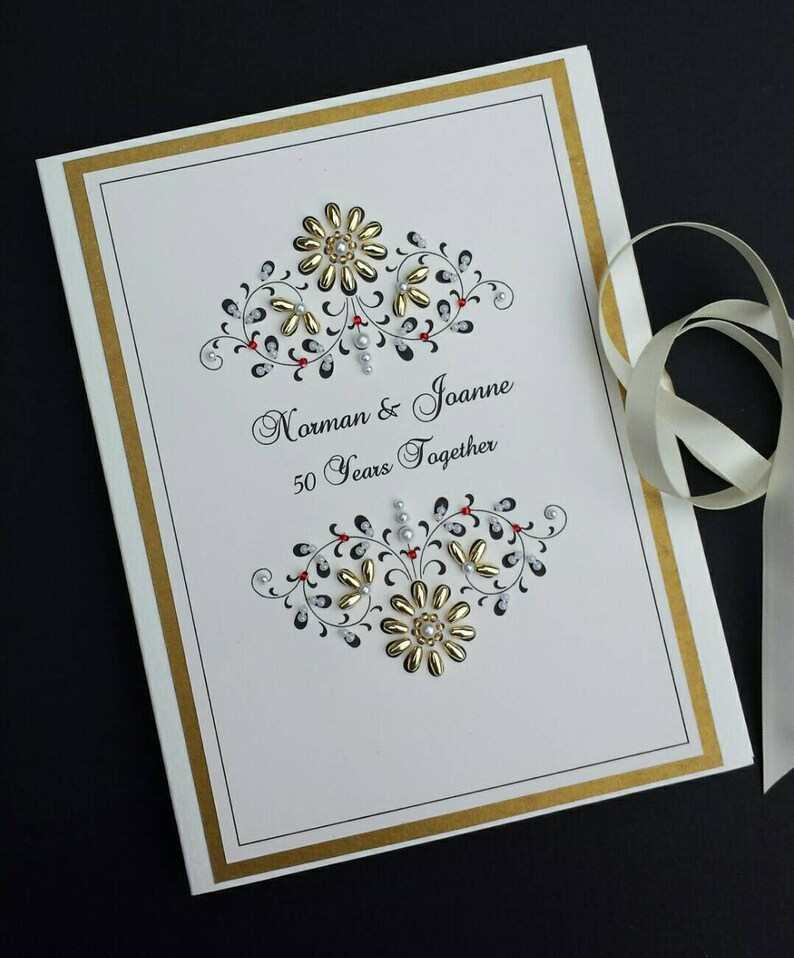 Personalized 5oth Wedding Anniversary Photo Album Gift  Beaded image 0