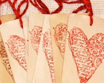 Vintage Style Valentine -10 Red Yarn Tied Coffee Stained Tags