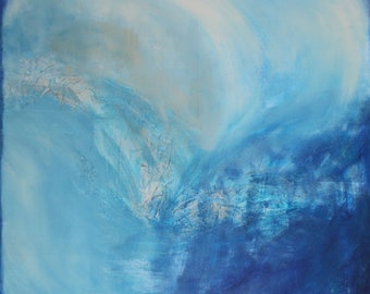 Abstract Art ORIGINAL on canvas, WATER Mixed Media