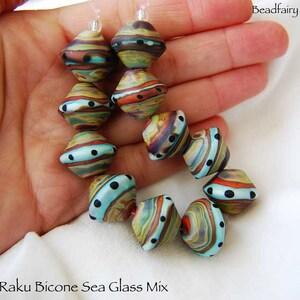 organic beads with fine silver wire 10 Raku Rocks glass beads by Beadfairy Lampwork Lampwork Beads SRA