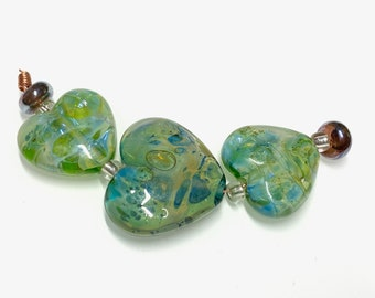 3 Blue Green Silver Glass Hearts with Spacer Beads * Handmade Lampwork by Beadfairy Lampwork SRA Ooak