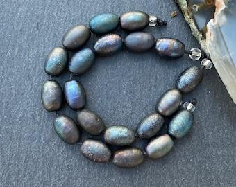 10 Metallic Olives Handmade Lampwork Beads by Beadfairy Lampwork, Karin Hruza SRA