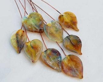 6 Rustic Leaves Headpins Set,  Glass Headpins Handmade lampwork glass headpins by Beadfairy Lampwork