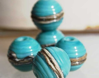 5 Turquoise Ivory Ribbed Spheres  , handmade glass beads, lampwork beads by Beadfairy Lampwork, SRA