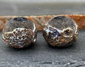 1 Pair *Golden Black Crusty Charcoal Spheres * Handmade Lampwork Beads, Glass Beads by Karin Hruza Beadfairy Lampwork, SRA