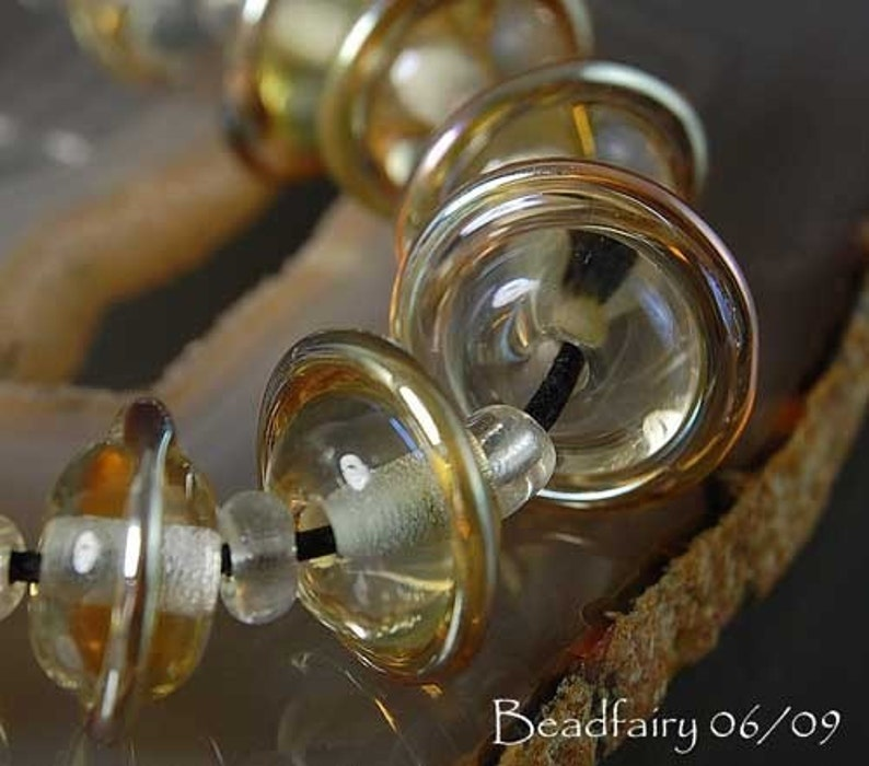 10 Aurae Satellites Handmade Lampwork Beads Clear with gold Glass Beads by Beadfairy Lampwork SRA