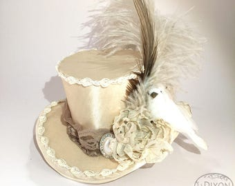 Romantic Ivory Bridal Mini Top Hat - Gothic Lolita, Mad Hatter, Steampunk Wedding, Victorian Wedding, Derby Facinator
